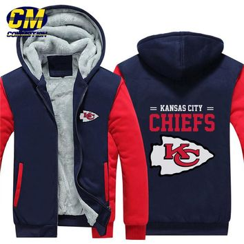 NFL American football winter thicken plus velvet zipper coat hooded sweatshirt casual jacket  Kansas City Chiefs
