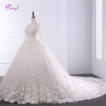 Fmogl Scoop Neck Appliques Flowers Ball Gown Wedding Dress 2018 Vintage Long Sleeve Chapel Train Princess Bridal Gown Plus Size
