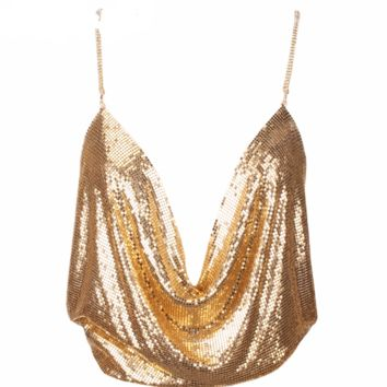 'Camille' Mesh Sequin Top - Gold