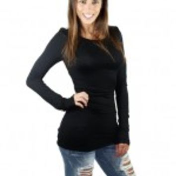 Solid Black Ruched Top