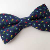 Navy mens bow tie, vintage floral fabric bow tie, flower print mens bow tie, blue bow tie adult size