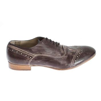 Brown Leather Wingtip Laceups Shoes