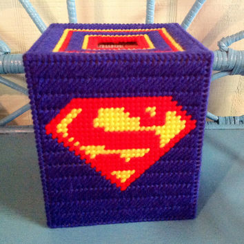Superman Tissue Box Cover, Superman Decor, Bathroom Decor, Superhero Box Cover, Boutique Tissue Box Cover, Comic Book Hero, Needle Craft