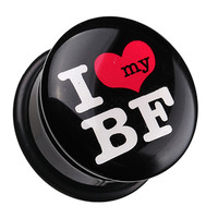 'I Heart my BF' Single Flared Ear Gauge Plug