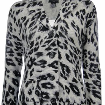 Sutton Studio Women's 100% Cashmere Leopard Sweater Knit Blazer Jacket