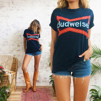 Vintage 1970's 1980's Rare Official BUDWEISER Neon Sign Bar Tavern T-Shirt || 50 50 Tee || Mens Small Ladies Medium