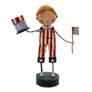 Lori Mitchell LAND THAT I LOVE Polyresin American Flag Uncle Sam Hat 11146