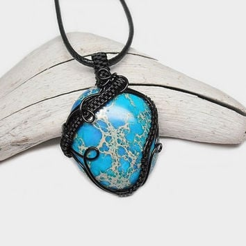 OOAK Wire wrapped blue Jasper necklace, Sea Sediment Jasper pendant, black leather necklace, unique necklace for women
