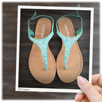 """Fun Time, Any Time"" Crystal Accented Mint Suede Sandals"