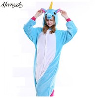 AFEENYRK 2017 Halloween Autumn/ Winter Pajama Sets Cartoon Sleepwear Women Pajama Flannel Animal Pajama Stitch unicornio Pikachu