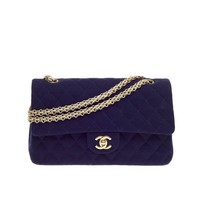 Chanel Bijoux Chain Double Flap Quilted Jersey Medium