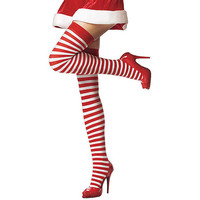 Red White Stripes Christmas Sexy Socks [6048043329]