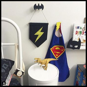 2016 INS Wooden 28 Design Batman Cross Hooks On Wall In Children's Room Decoration Baby & Kids Coat Hangers