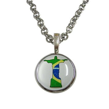 Brazil Flag Christ The Redeemer Rio Statue Pendant Necklace