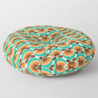 1970's Retro Flowers Brown Orange Blue Floor Pillow by inspiredimages