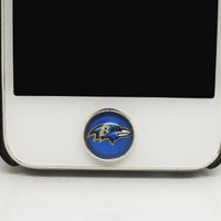 1PC Baltimore Ravens Popular Football Team Glass Epoxy Cell Phone Home Button Sticker Charm for iPhone 6, 4s,4g,5,5c,5s,6plus Gift for Boy or Men