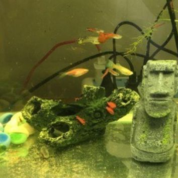 ac NOVQ2A Aquarium Accessories Decoration Reptiles Easter Island Stone Resin Landscape Crafts Antique Rome Portrait