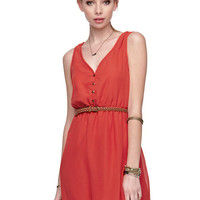 Red V-neck Sleeveless Heart Cutout Back Dress - Sheinside.com
