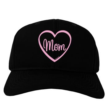 Mom Heart Design - Pink Adult Dark Baseball Cap Hat by TooLoud