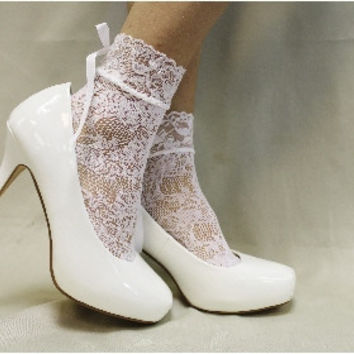 Lace sock, sexy, wedding, bridal, peep socks, heels, COSMOPOLITAN, white stretch lace anklet | FT5