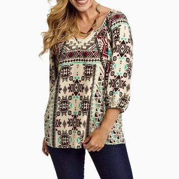 Cream-Multi-Color-Tribal-3/4-Sleeve-Blouse