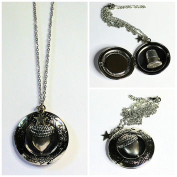 Acorn with Hidden Thimble Peter Pan and Wendy Kisses Second Star Right Stainless Steel