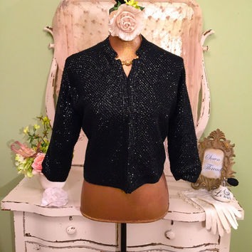 50s Sequin & Beaded Sweater, 1950s Vintage Cardigan,  Crop Jacket, Black Vintage Sweater, Rockabilly Sweater, Excellent Condition! Sz Medium