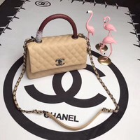 CHANEL WOMEN'S LEATHER COCO HANDLE HANDBAG INCLINED SHOULDER BAG