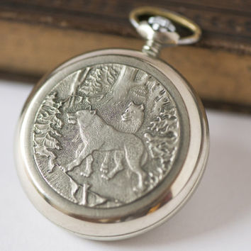 Vintage pocket watch Molnija engraved wolves Soviet pocket watch gift silver tone mint condition round watch Quality Mark USSR
