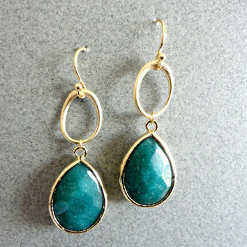 Green jade gold drop earrings Anthropologie inspired by KeyYoung