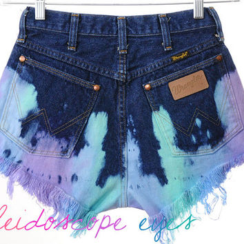 Vintage Wrangler High Waist COLORFUL Ombre Dip Dyed Denim Cut Off Shorts S