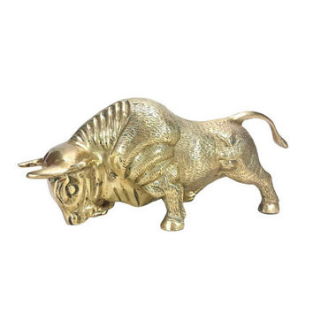 Large Brass Bull Statue Vintage Animal Figurine Man Cave Mantle Bookshelf Home Office Desk Stock Market Gold Art Taurus Southwestern Decor