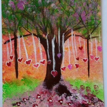 The Heart Tree Original Acrylic Painting SFA 5x7
