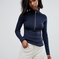 Noisy May Funnel Neck Zip Knit at asos.com