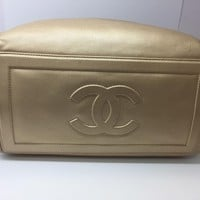 Chanel Calfskin Leather Coco Cocoon Tote Bag Gold 4053