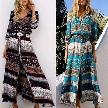 Fashion Multicolor Retro Print V-Neck Long Sleeve Row Buckle Cardigan Maxi Dress-1