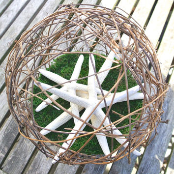 "Beach Wedding Centerpiece- Starfish Grapevine Kissing Ball, Rustic Nautical Wedding Decor, XL 10"" Pomander, Flower Bouquet Alternative"