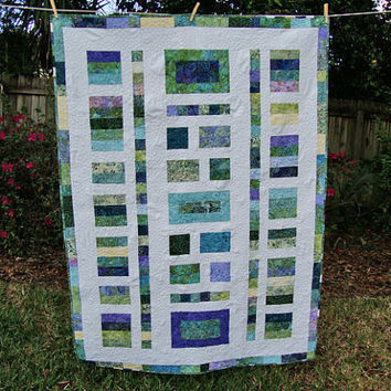 TWILIGHT PATH Lap Quilt, Throw Quilt, Batik Quilt in Blues and Greens, Sofa Quilt, Geometric Quilt, Pebble Quilt, Modern Quilt, Contemporary