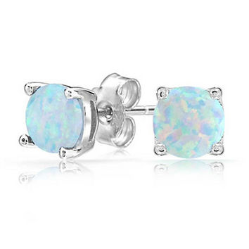 White Opal & Silver Stud Earrings