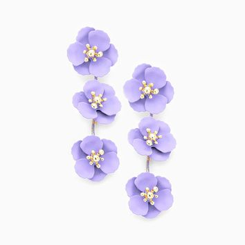 Triple Blooms Earrings - lilac