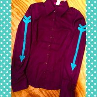 DEEP PURPLE RODEO SHIRT WITH TURQUOISE ARROWS
