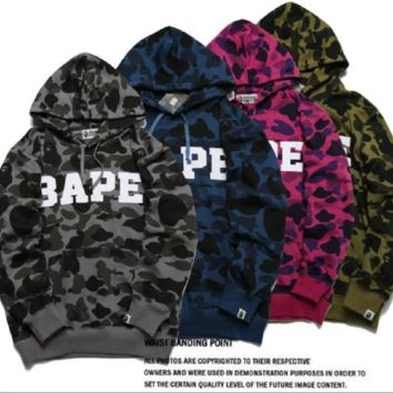 Camouflage letters printed sweater male and female camouflage caps hoodies sweater coat shark head