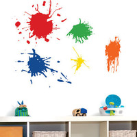 Childrens Wall Decal  Paint Splotches. - Playroom Vinyl Wall Art - Childrens Playroom Decor