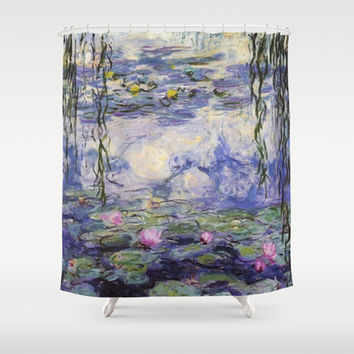 1916 Waterlily on canvas, Claude Monet. Beautiful vintage floral oil painting.  Shower Curtain by ArtsCollection