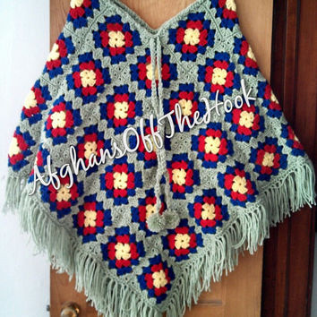 Warm and Colorful Hand Crafted Granny Square Poncho