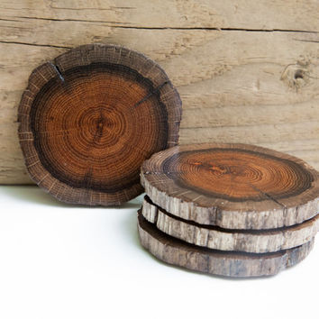 Set of 4 Rustic, Modern Driftwood Slice Coasters with cork backing. Dark oak driftwood round log shape.