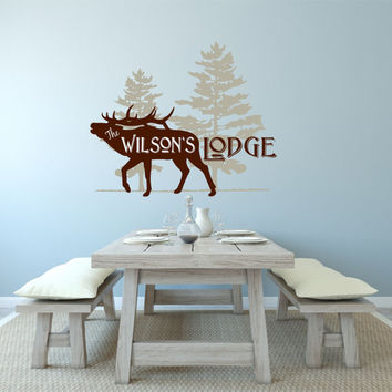 Personalized Lodge Decal, Family Lodge Wall Decal, Cabin Decal, Lodge Decor, Cabin Decor, Elk Decal, Hunting Decal, Hunting Lodge