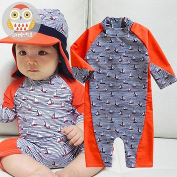 80-120cm Children Swimwear for Boys Patchwork Stripes Kids Swimsuits Bathing Suits for Baby Boy Sunscreen Long Sleeve Beachwear