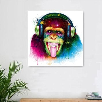 Large size Animal Monkey Canvas Printed Painting Modern Funny Thinking gorilla with Headphone Wall Art for Living Room Decor