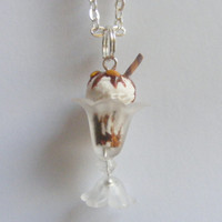 Chocolate and Nut Ice Cream Sundae Necklace Pendant  - Miniature Food Jewelry
